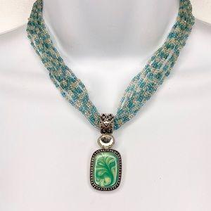 Lia Sophia Seed Bead Green Blue Pendant Necklace